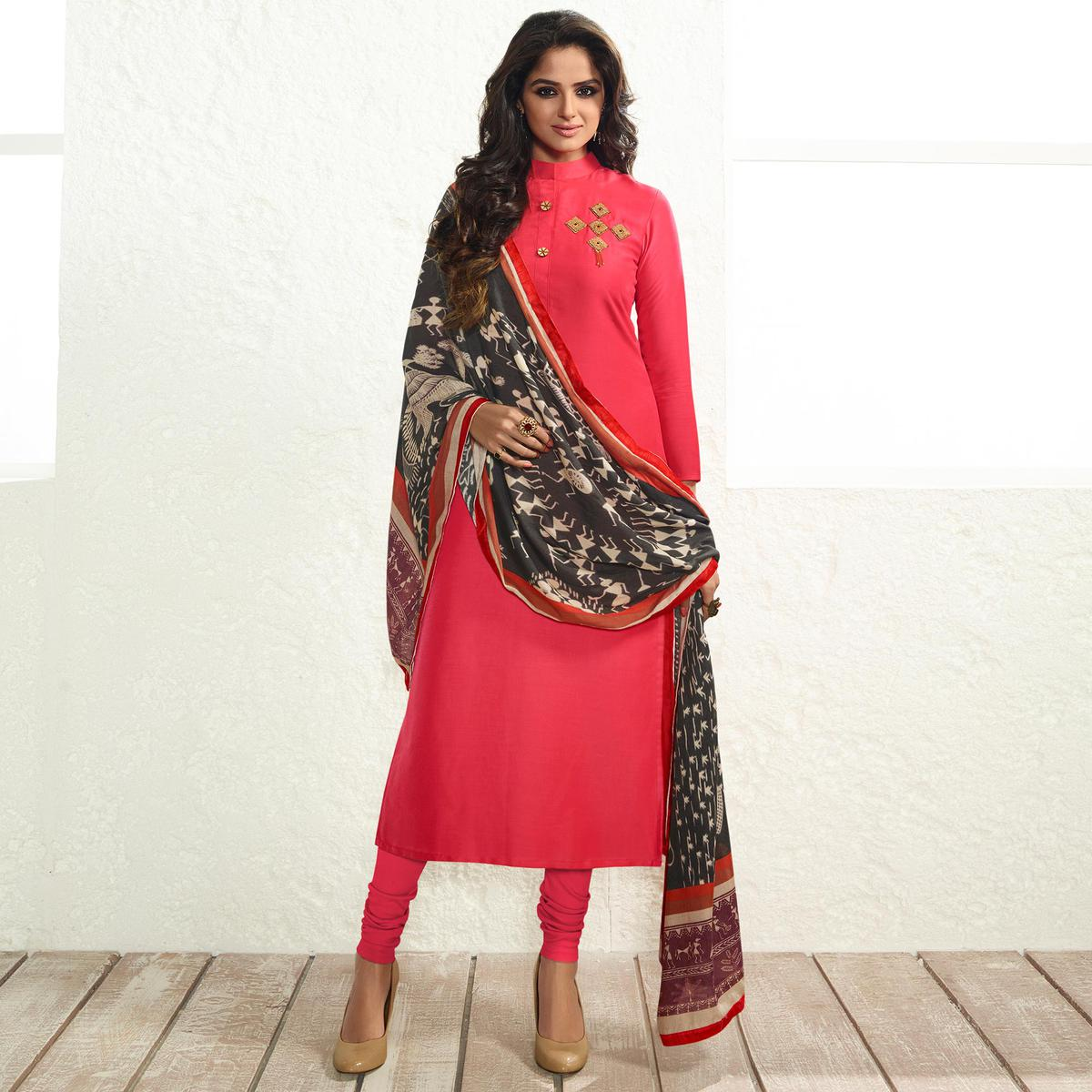 Pink Colored Party Wear Cotton Silk Salwar Suit