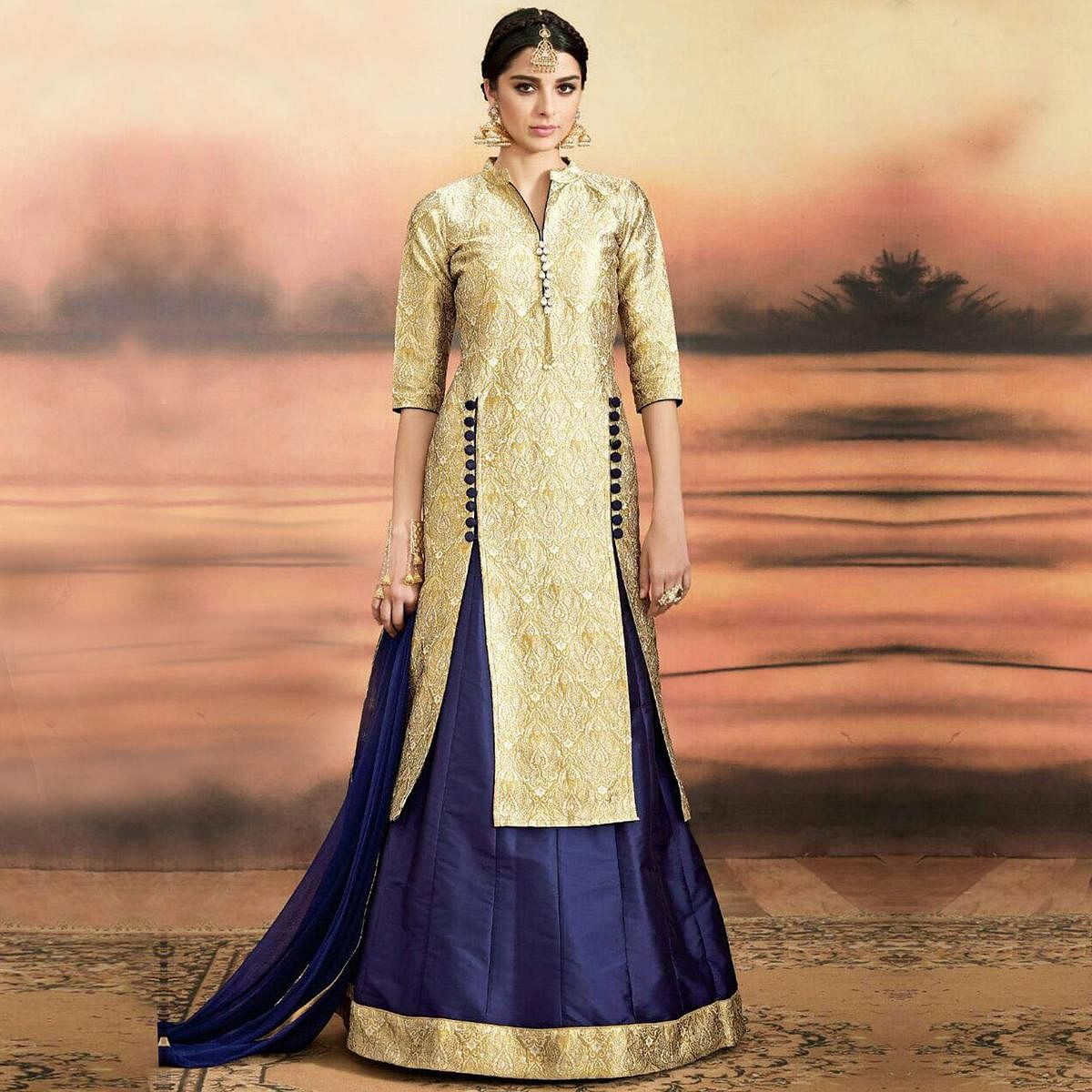 c2f6b88d5d Buy Golden - Navy Blue Lehenga Suit for womens online India, Best Prices,  Reviews - peachmode