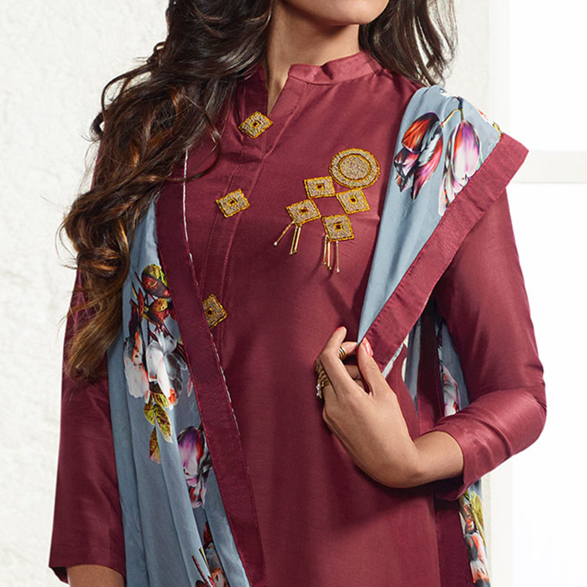 Brown Colored Embroidered Work Party Wear Cotton Silk Salwar Suit