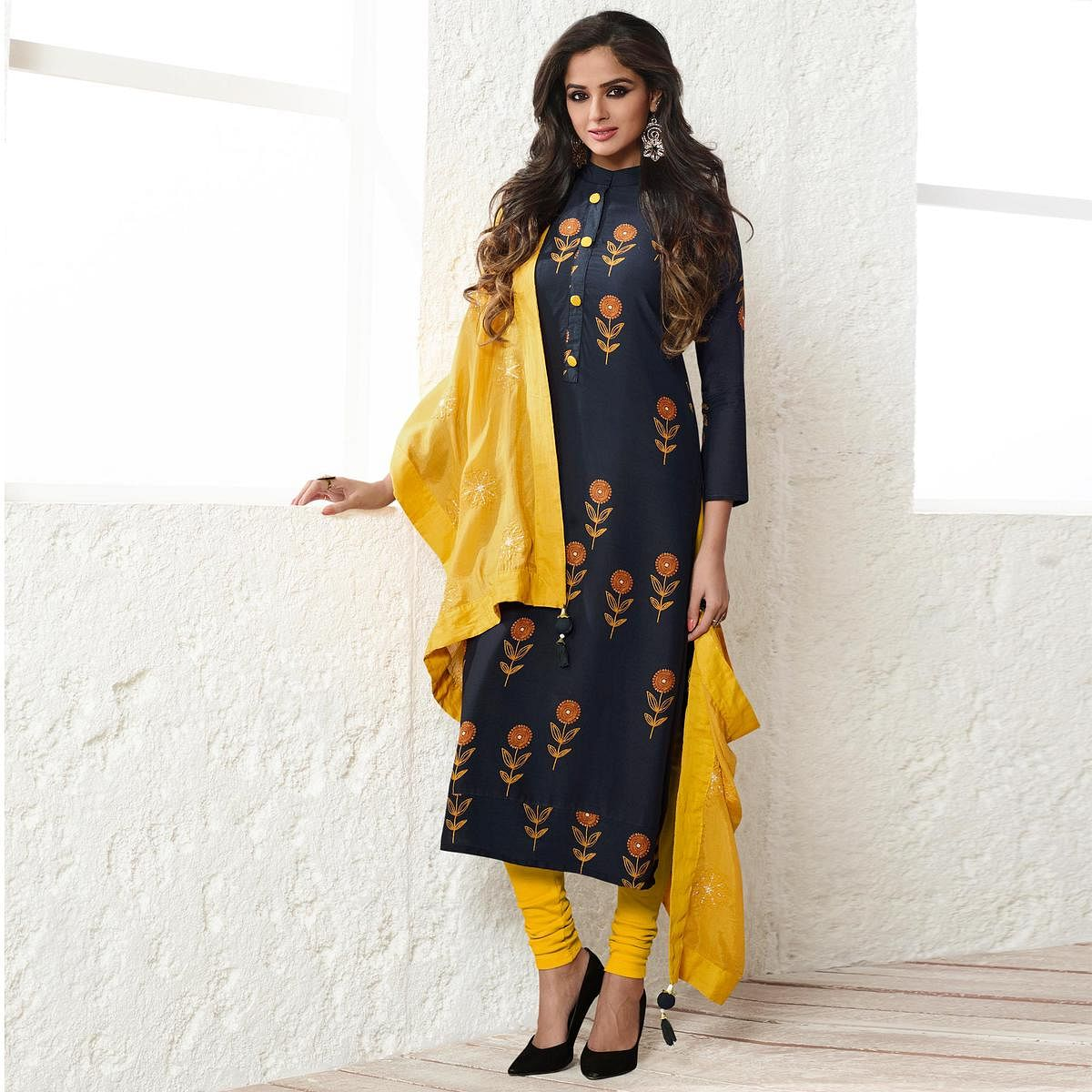 Blue Colored Floral Embroidered Work Cotton Silk Salwar Suit