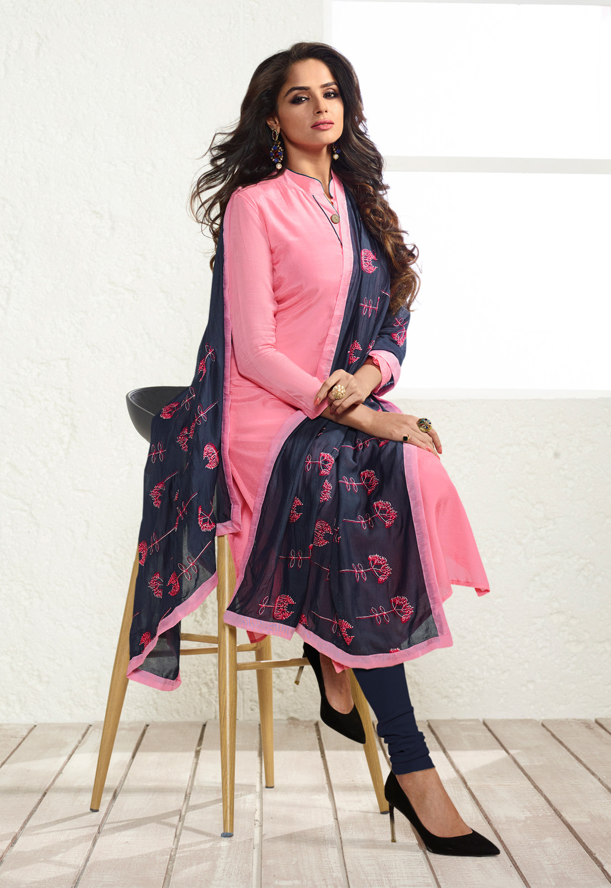 Pink Colored Casual Wear Cotton Silk Salwar Suit