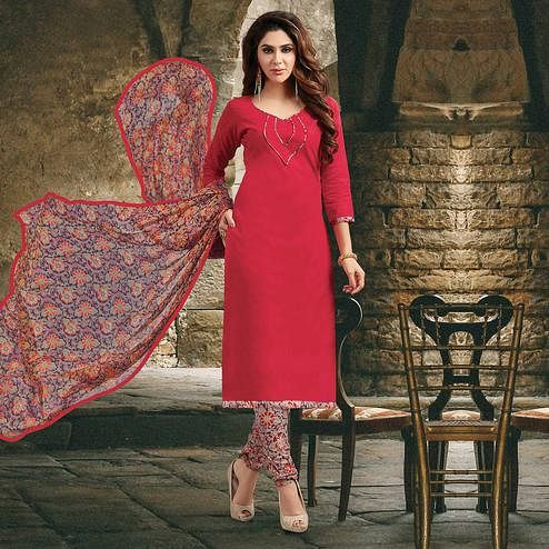 Red Colored Casual Wear Prinred Cotton Salwar Suit