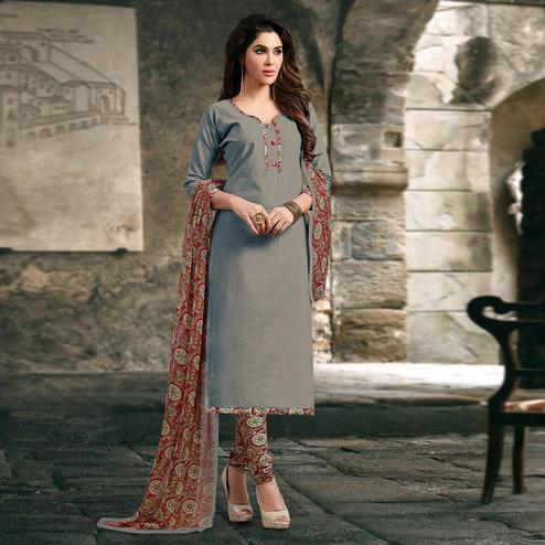 Grey Colored Casual Wear Printed Cotton Salwar Suit