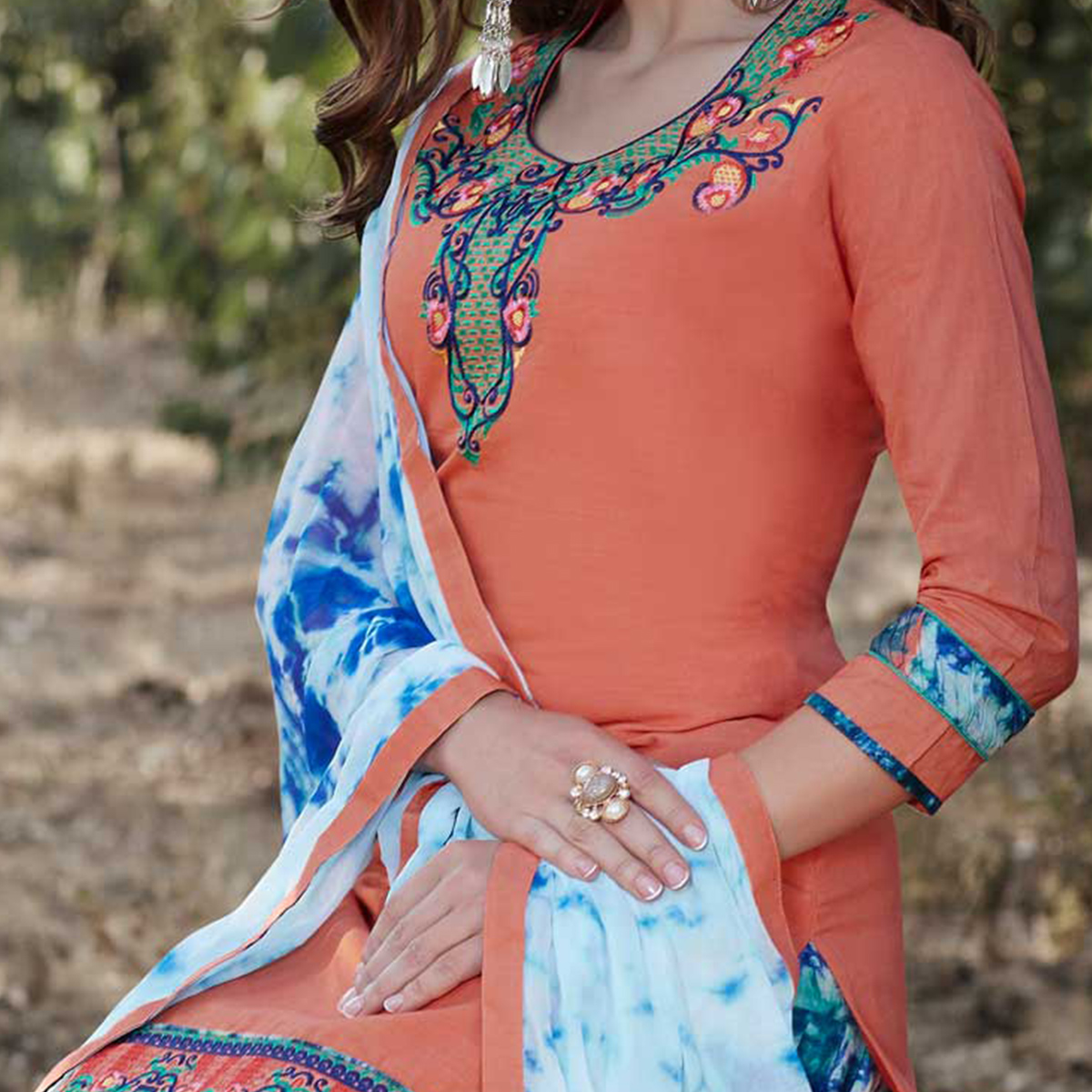 Orange Colored Embroidered Work Party Wear Cotton Salwar Suit