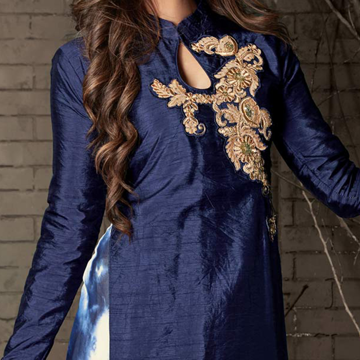 Blue Colored Embroidered Work Party Wear Banarasi Silk Suit