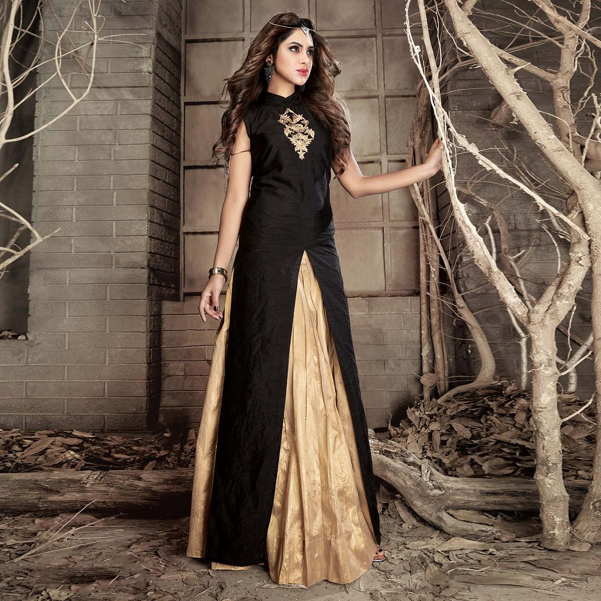 Black Colored Embroidered Work Party Wear Banarasi Silk Lehenga Kameez