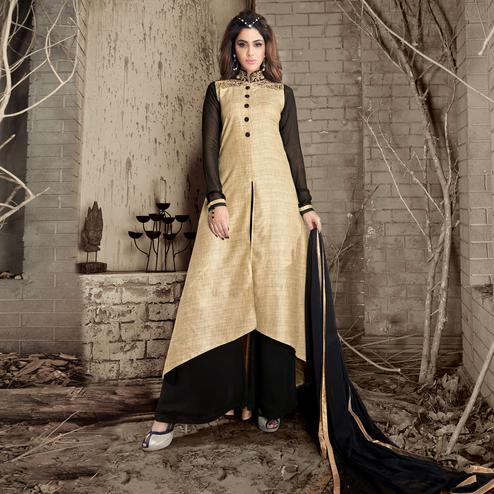 Beige Colored Embroidered Work Party Wear Banarasi Silk Palazzo Suit