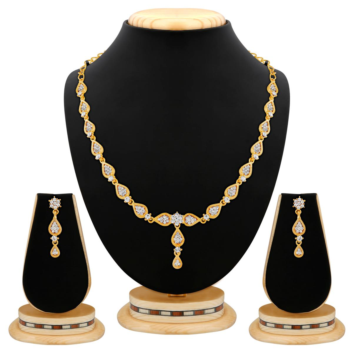 Graceful Design Austrian Stone  Gold Finishing Necklace Set