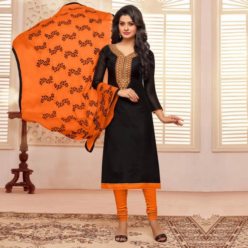 Black Colored Embroidered Work Tissue Cotton Salwar Suit