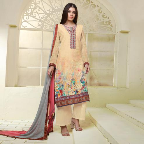 Beige Colored Floral Embroidered Work Art Silk Suit