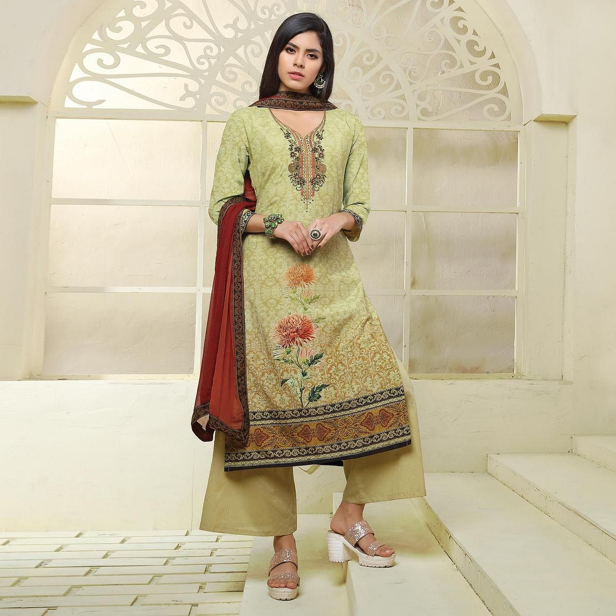 Olive Green Colored Printed Art Silk Suit