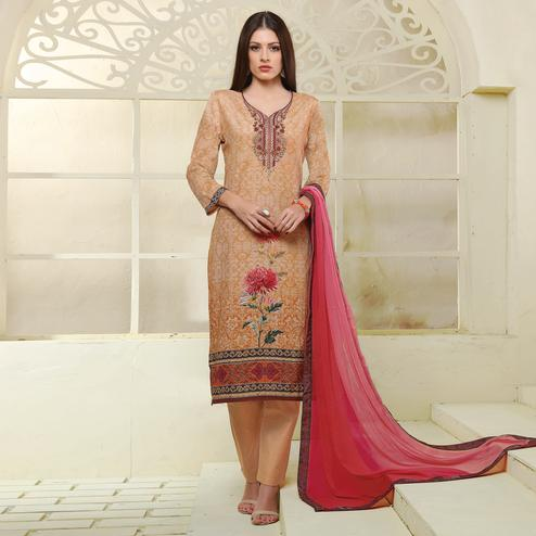 Beige Colored Printed Casual Wear Art Silk Suit