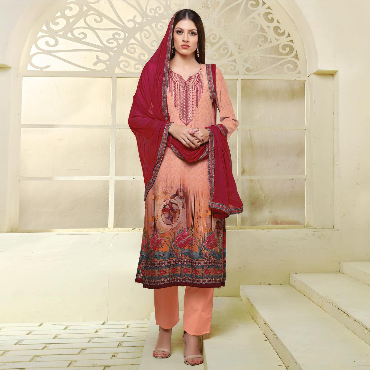 Peach Colored Printed Casual Wear Art Silk Suit