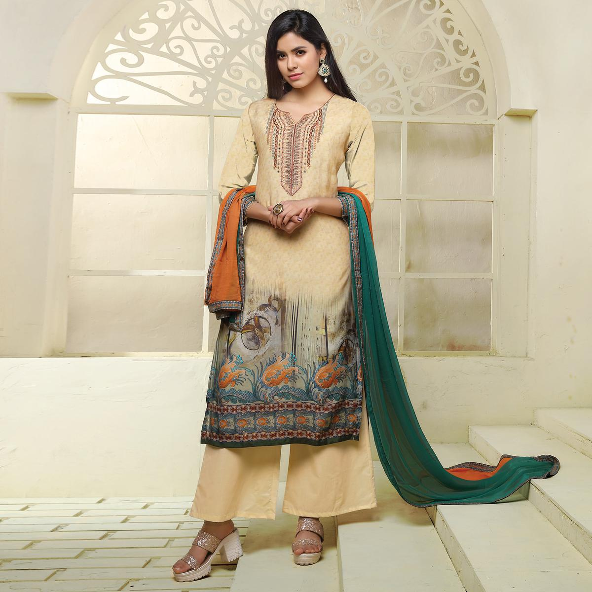 Beige Colored Printed Casual Wear Art Silk Salwar Suit