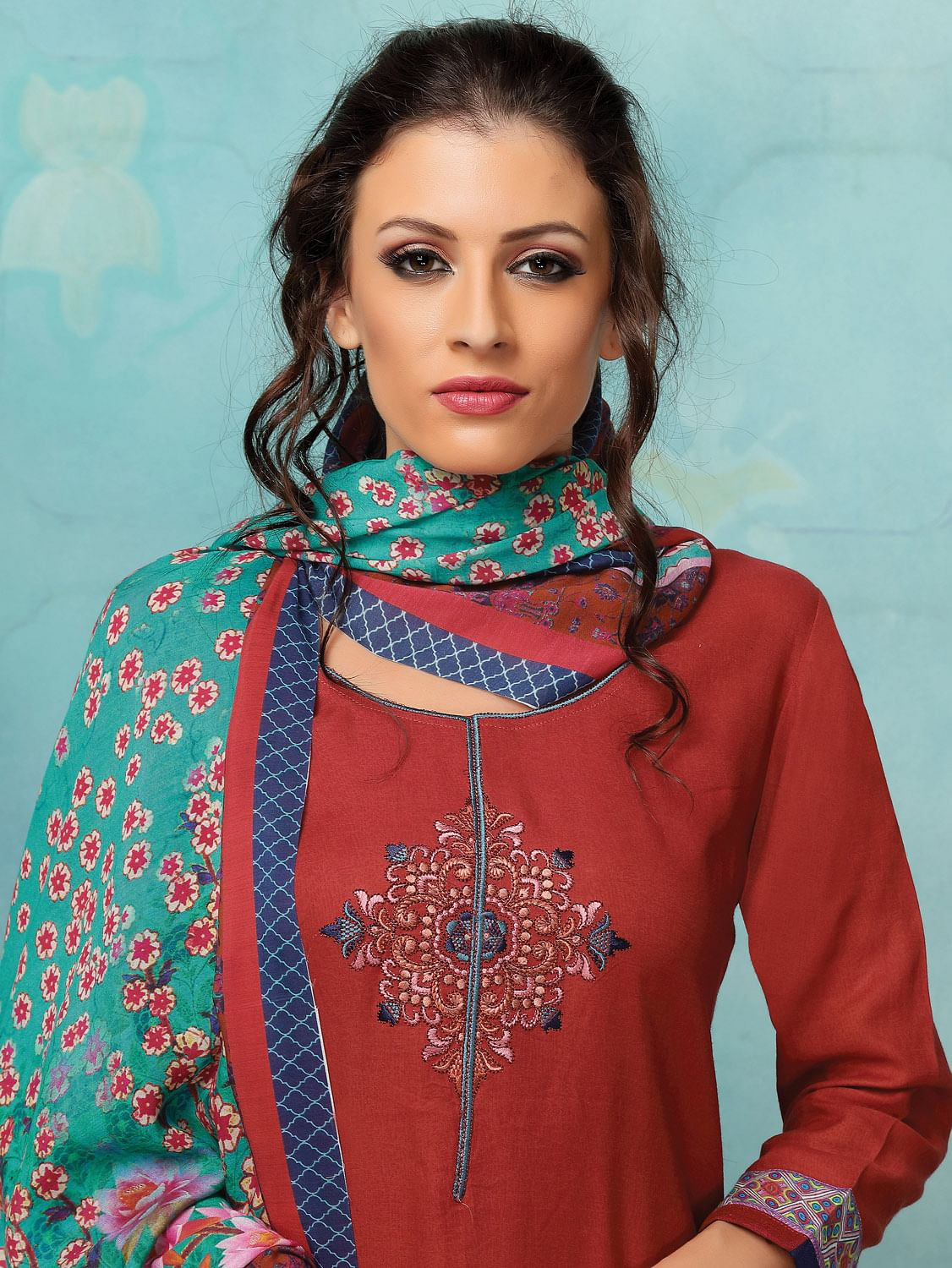 Red Colored Embroidered Work Georgette Palazzo Suit