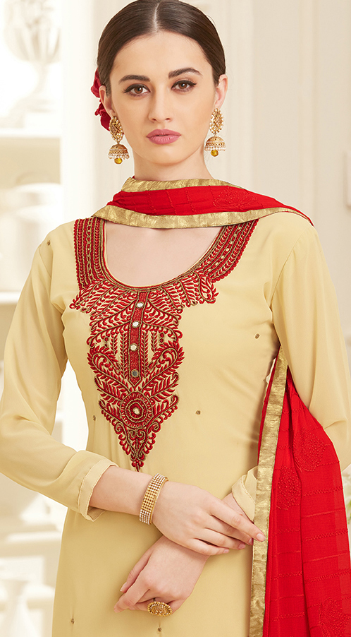 Cream Colored Embroidered Work Party Wear Georgette Salwar Suit