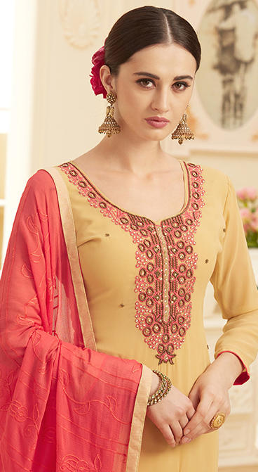 Beige Colored Floral Embroidered Work Party Wear Georgette Suit