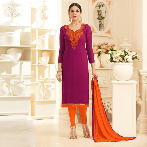Magenta Pink Colored Embroidered Work Georgette Suit