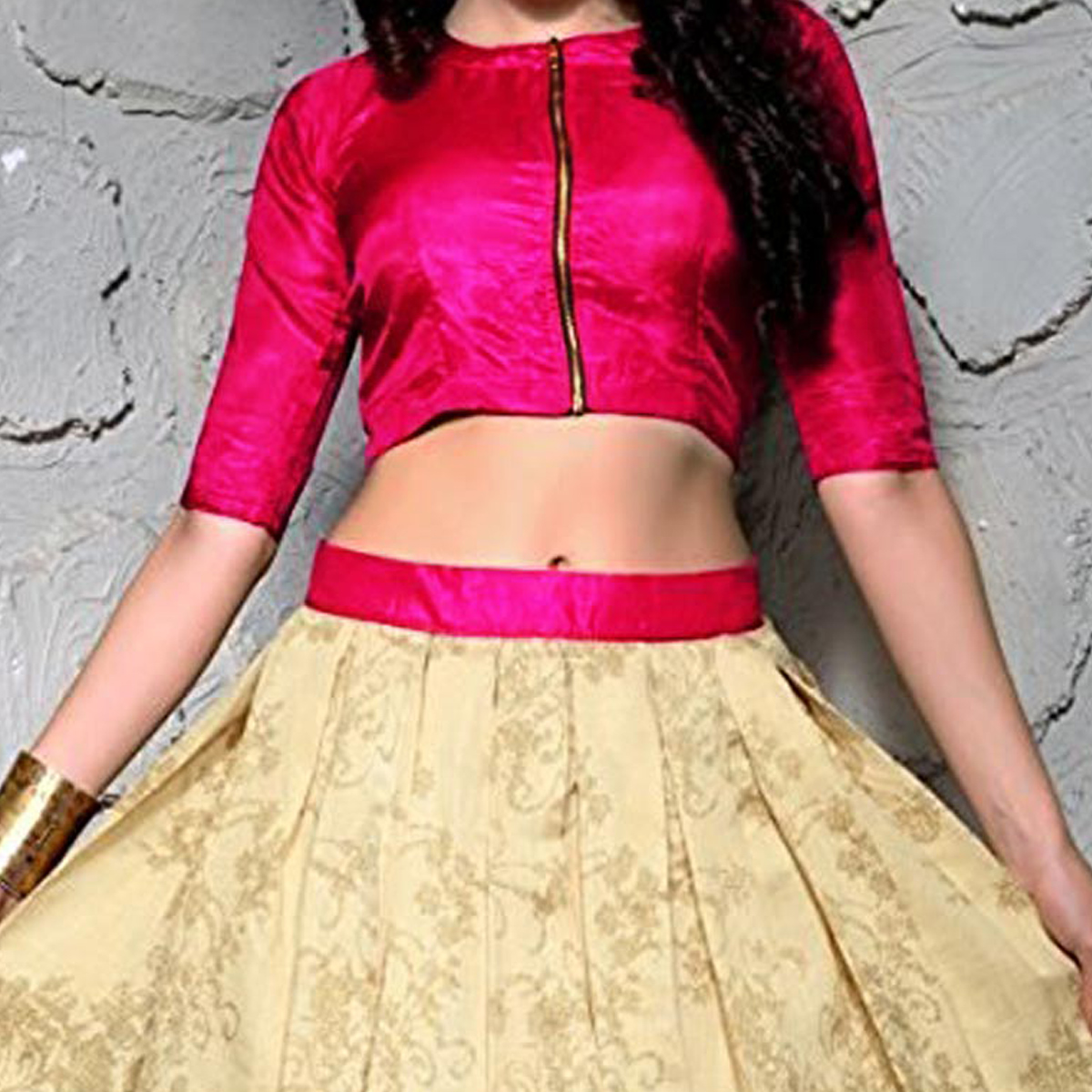Magenta - Beige Crop Top with Lehenga