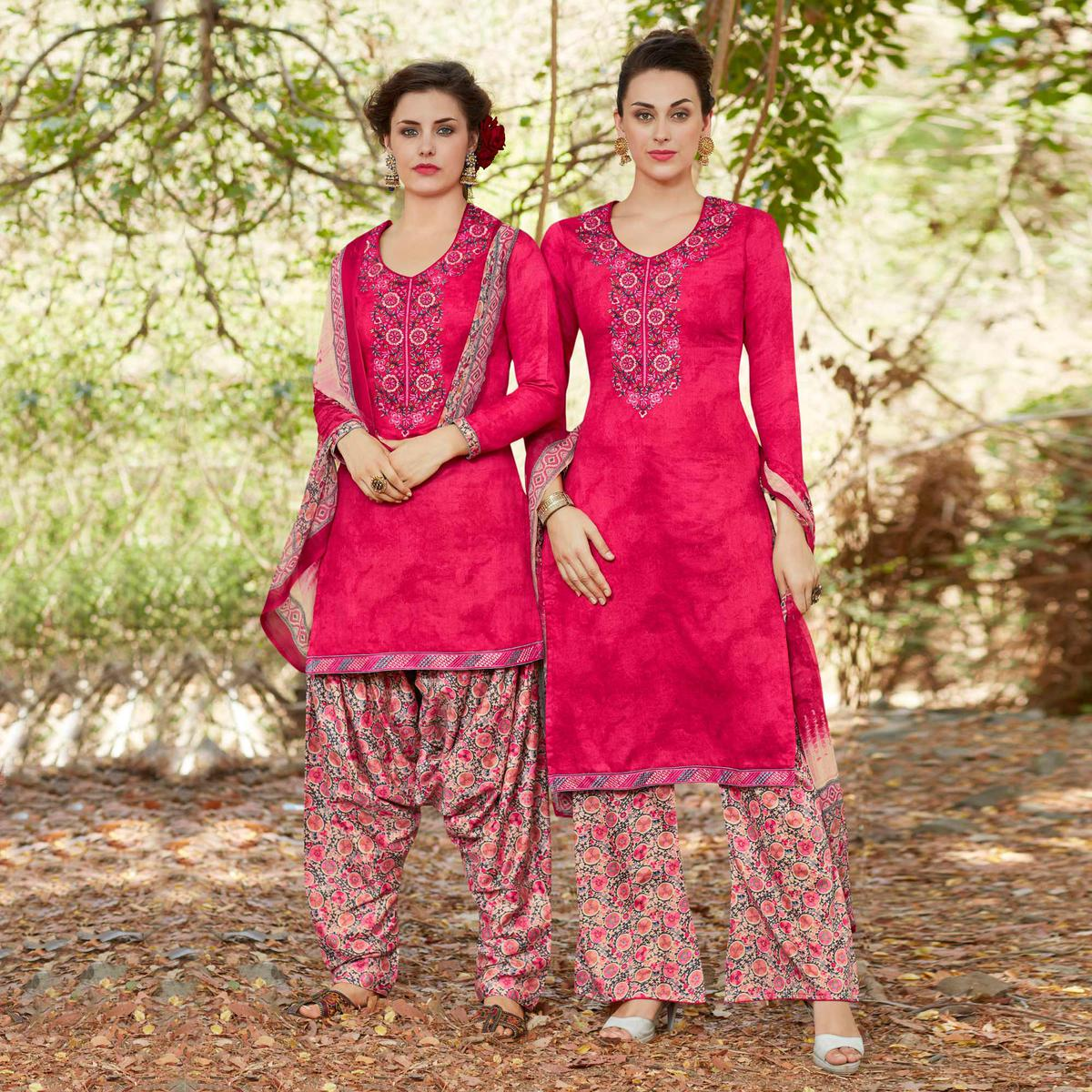 Pink Colored Embroidered Work Cotton Suit
