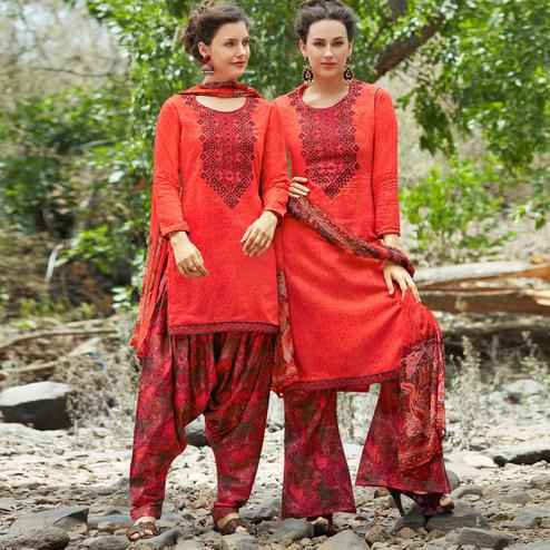 Red Colored Printed Casual Wear Cotton Suit