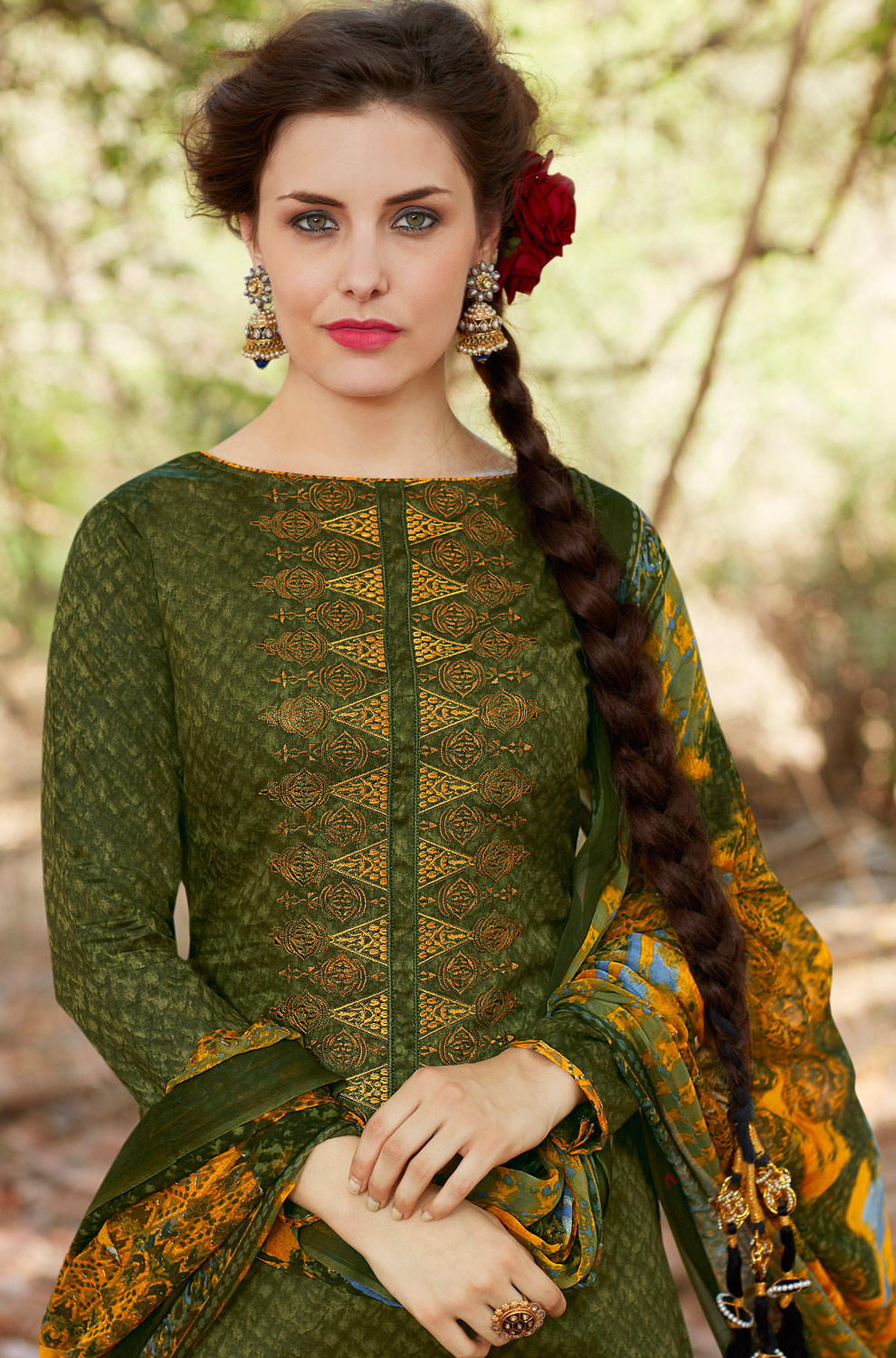 Green Colored Casual Wear Printed Cotton Salwar Suit