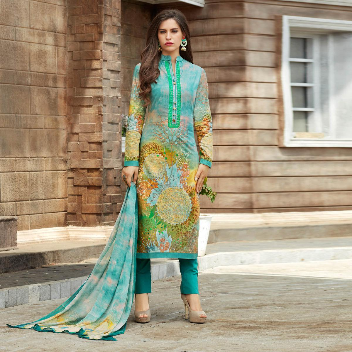 Sky Blue Colored Casual Wear Printed Cotton Salwar Suit