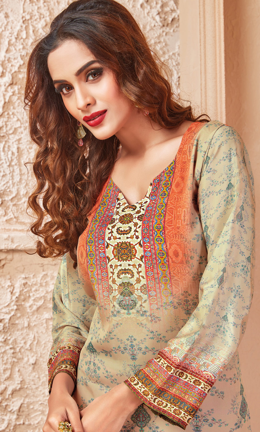 Beige Colored Casual Wear Printed Crepe  Palazzo Suit