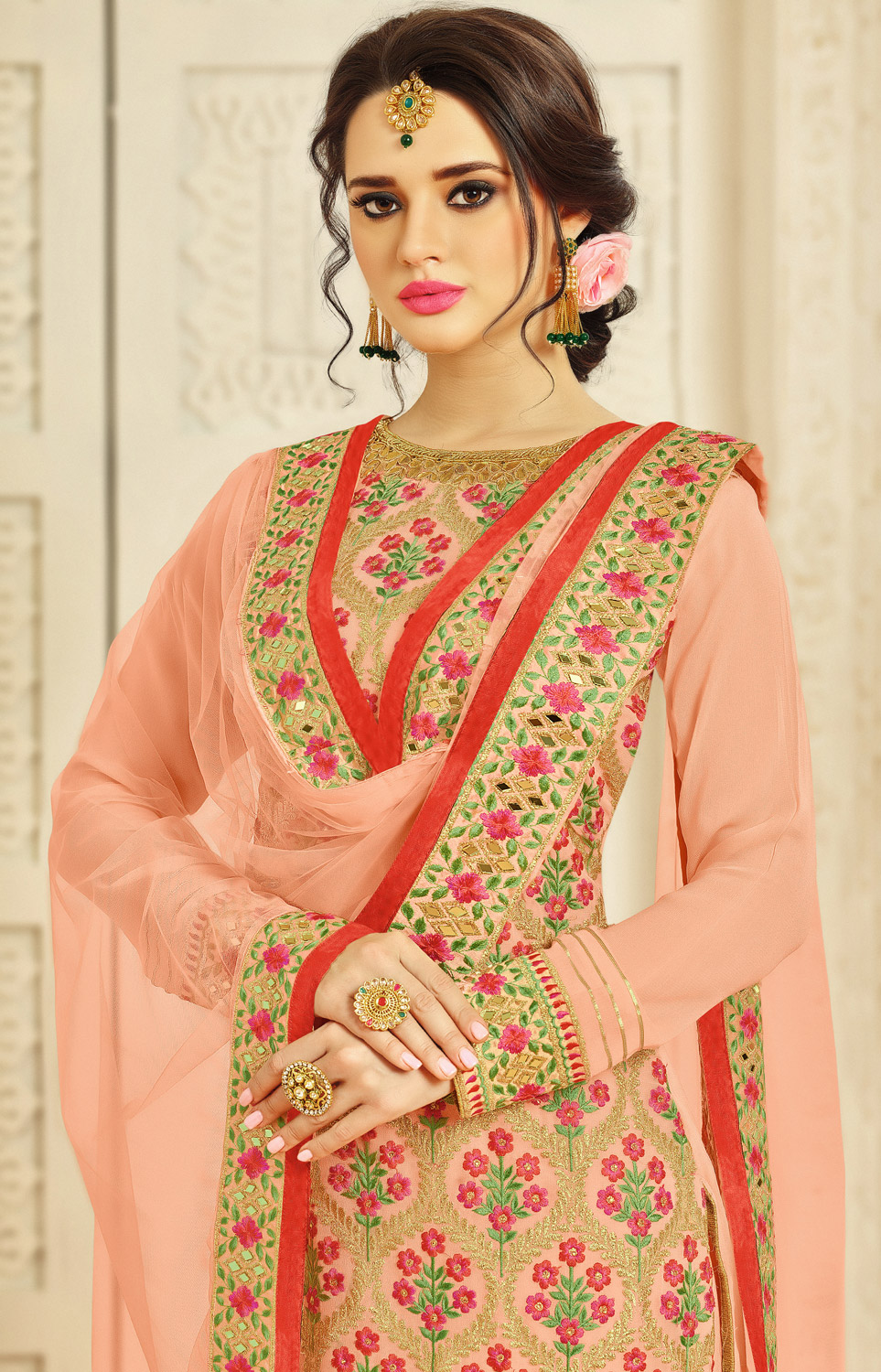 Peach Colored Floral Embroidered Work Party Wear Georgette Palazzo Suit