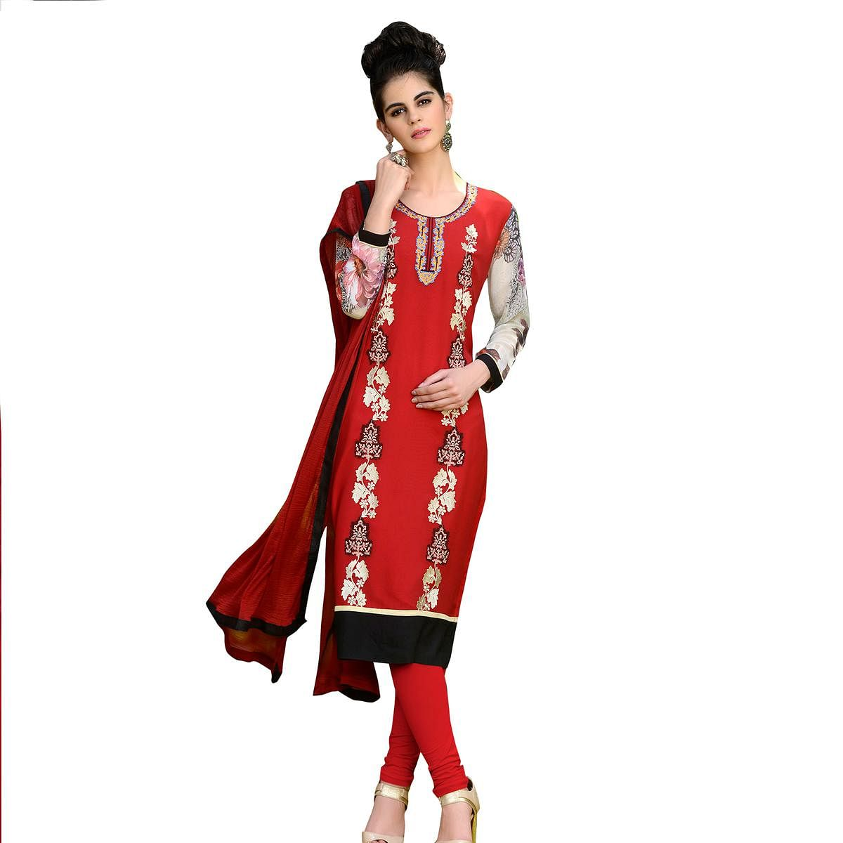 Red Colored Floral Embroidered Work Georgette Suit