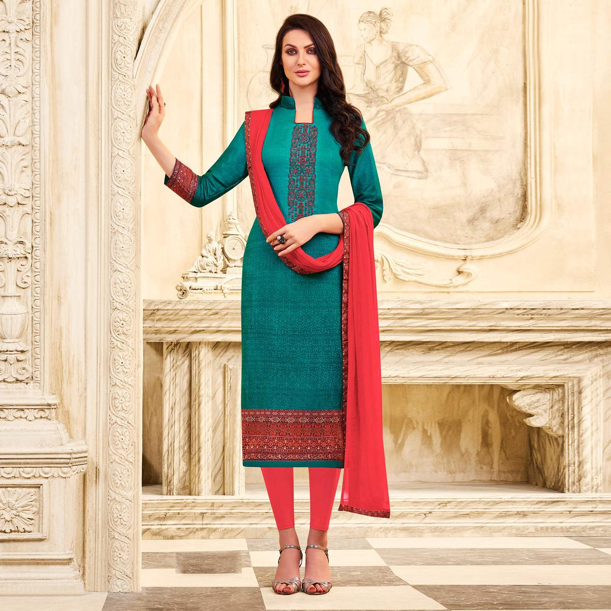 Pine Green Colored Embroidered Cotton Dress Material