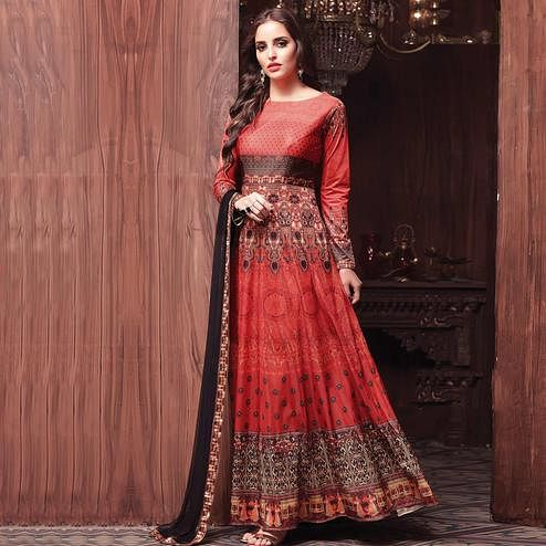 Red-Brown Colored Designer Printed Lycra Silk Anarkali Suit