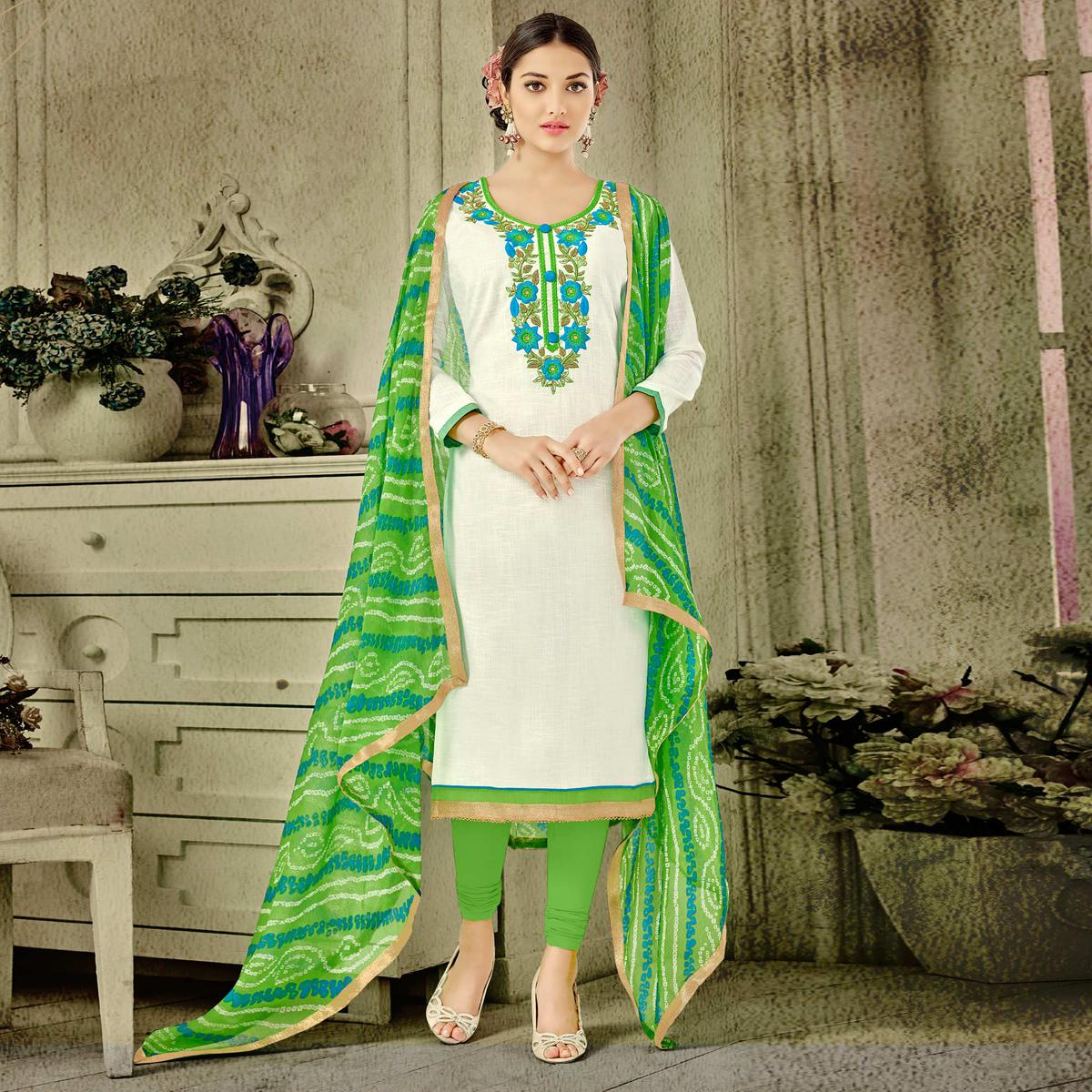 White Colored Embroidered Cotton Dress Material