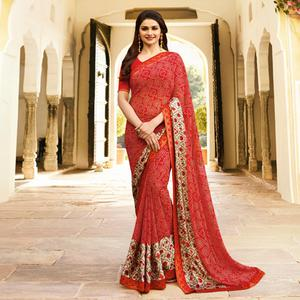 Gleaming Red Colored Designer Printed Georgette Saree