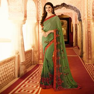 Pleasant Mehendi Green Colored Designer Printed Georgette Saree