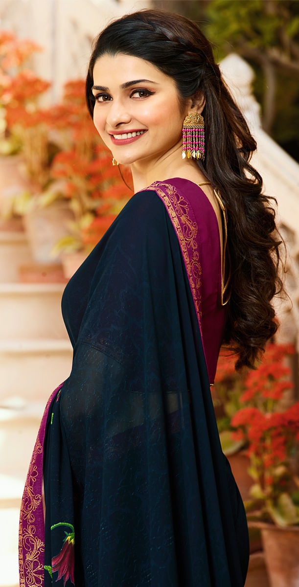 Opulent Navy Blue Colored Designer Printed Georgette Saree