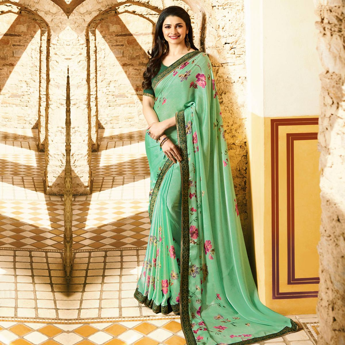 Elegant Light Green Colored Designer Printed Georgette Saree