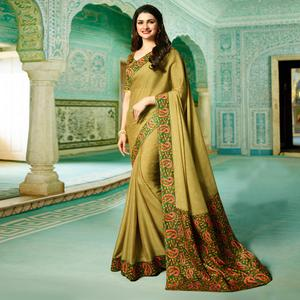 Innovative Mehendi Green Colored Designer Rangoli Silk Saree