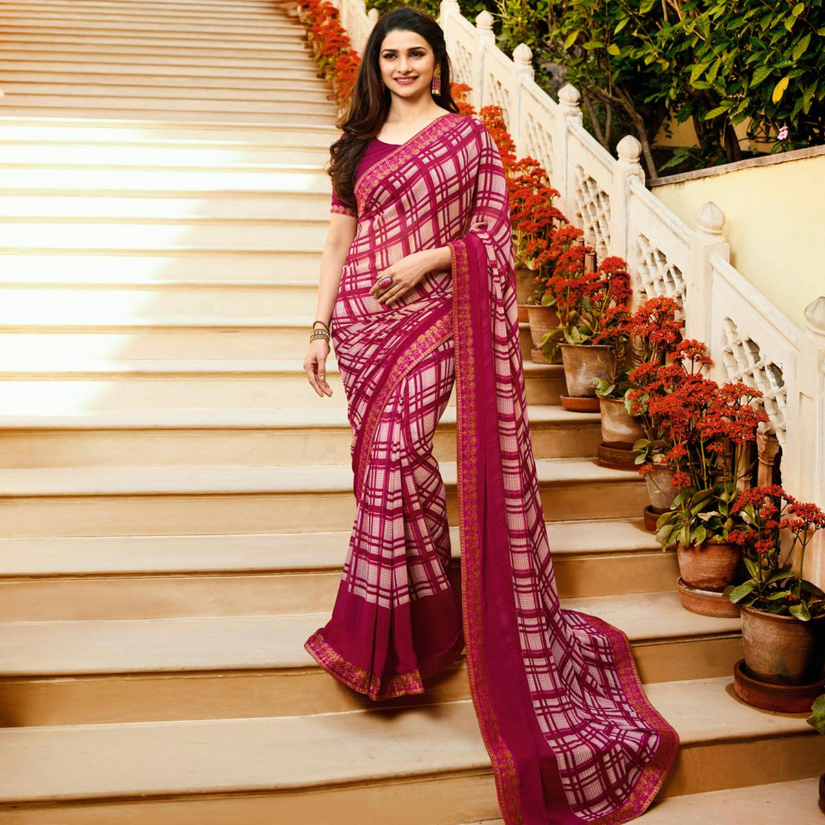 Amazing Pink Off White Colored Designer Printed Georgette Saree