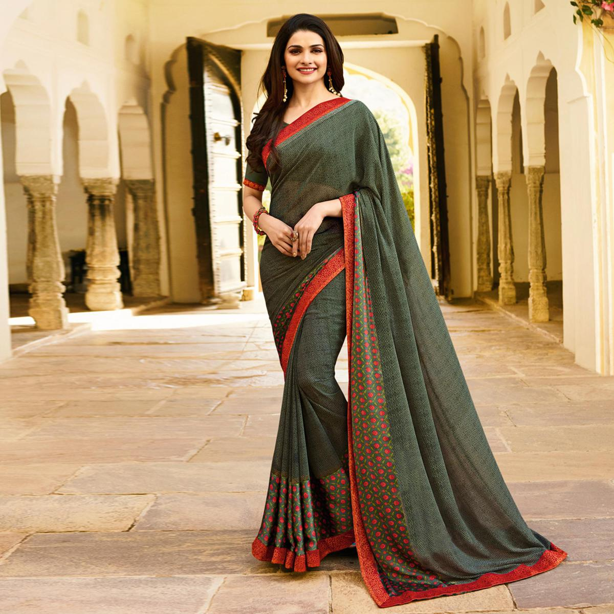 Preferable Green Colored Designer Printed Georgette Saree