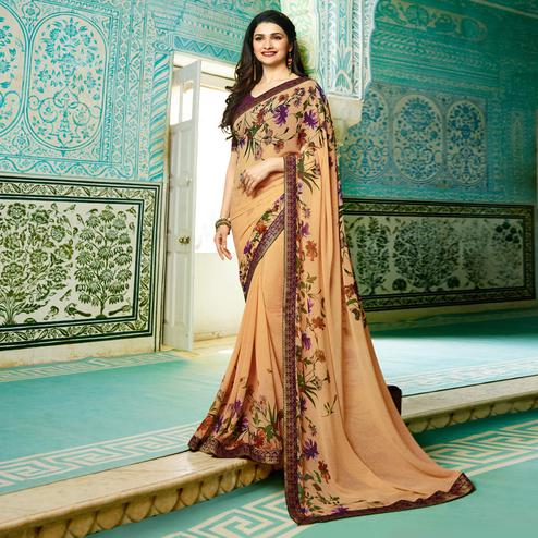 Graceful Peach Colored Designer Printed Georgette Saree