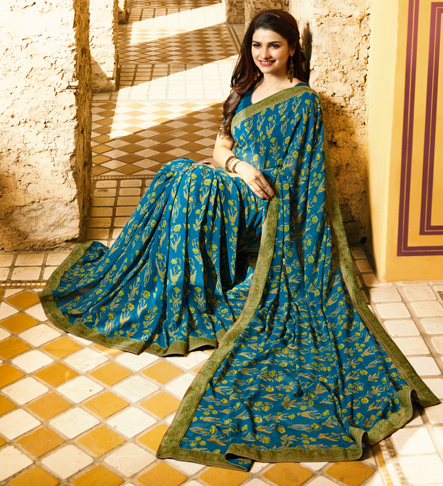 Gorgeous Teal Green Colored Designer Printed Georgette Saree