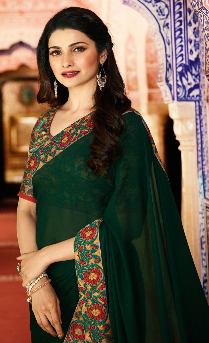 Dazzling Dark Green Colored Designer Rangoli Silk Saree