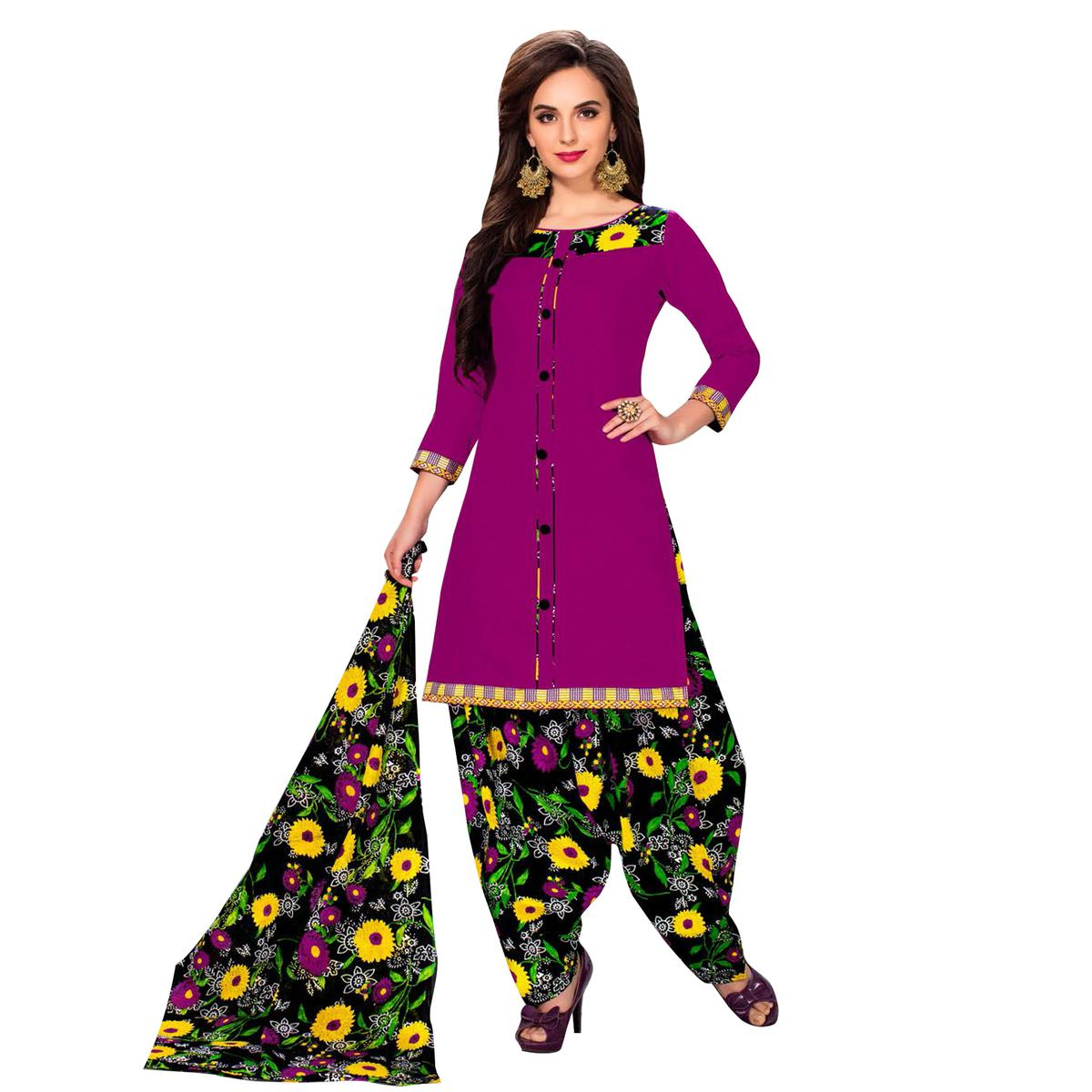 Impressive Purple Colored Casual Printed Dress Material