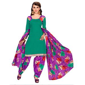 Innovative Rama Green Colored Casual Printed Dress Material
