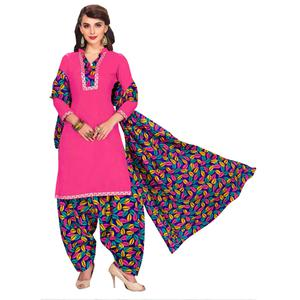 Gleaming Pink Colored Casual Printed Dress Material