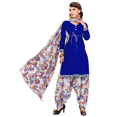 Arresting Blue Colored Casual Printed Dress Material