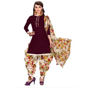 Exceptional Brown Colored Casual Printed Dress Material
