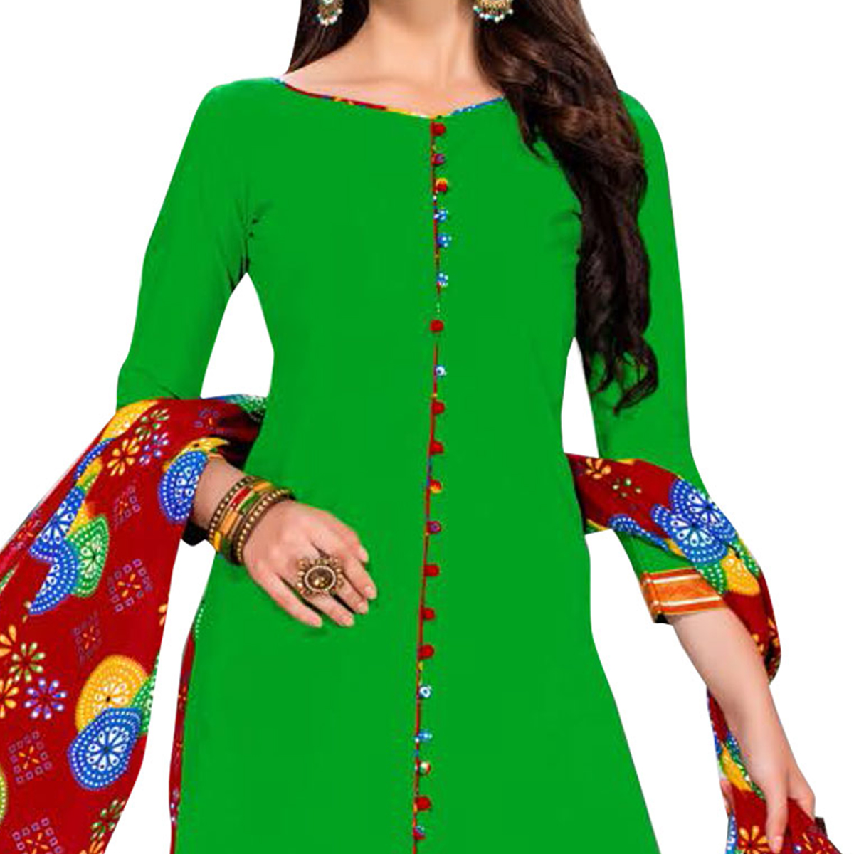 Excellent Light Green Colored Casual Printed Dress Material