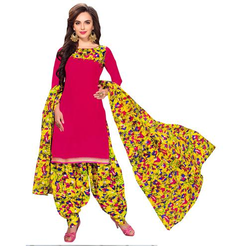 Ethnic Pink Colored Casual Printed Dress Material